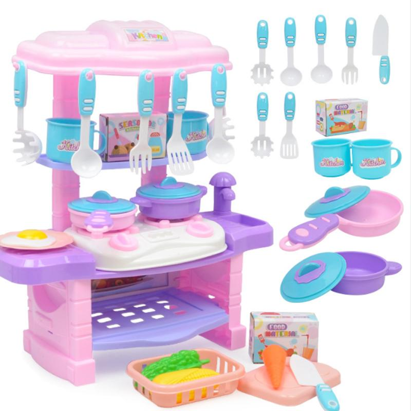 2021 New Plastic Pretend Play Toy Kitchen Set Cooking Play Toy Simulation Fruit Drink Food Vegetable Chicken Tableware Toy D90 From Windtop 37 61 Dhgate Com