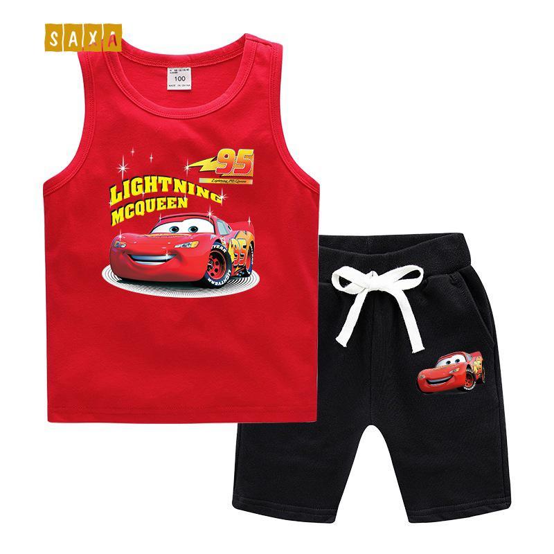 Детский костюм 2019 младенца лета жилет костюм мальчика хлопка мультфильм печати майка + шорты двухсекционный детский случайный костюм CY200515
