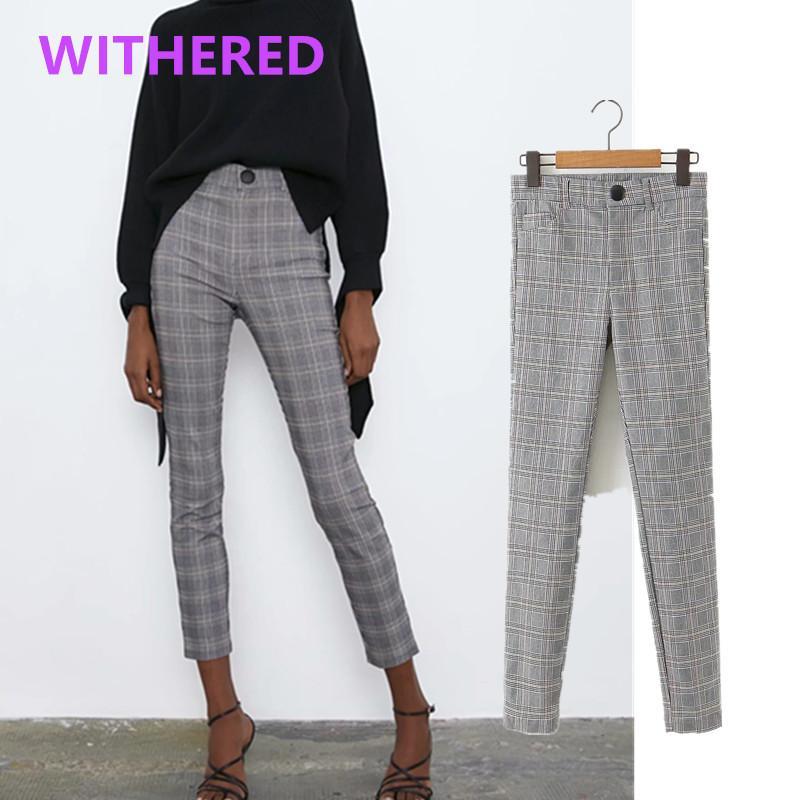 DaveDi 뉴 잉글랜드는 하이 스트리트는 높은 허리 저녁 마른 연필 바지 여성 pantalones mujer pantalon 팜므 바지 여성 격자 무늬