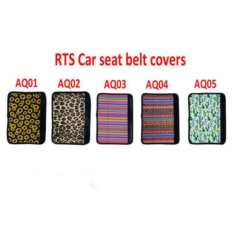 Asiento de neopreno asiento de coche cubierta de la correa del cinturón de seguridad mangas girasol leopardo Cactus Caja del cojín del coche del cinturón de hombro cubierta del cojín de la correa de la correa