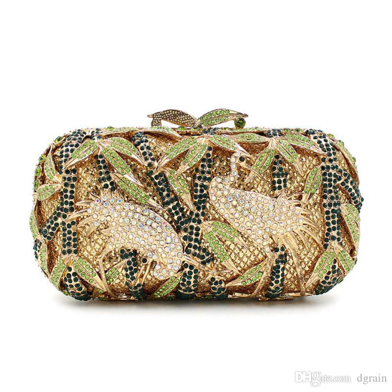 Dgrain Dazzling Kristallschwan-Frauen-Abend-Clutch Neue Ankunfts-Handtaschen und Geldbeutel Hardcase Brauthochzeitsfest-Ketten-Schulter-Beutel-Handtasche