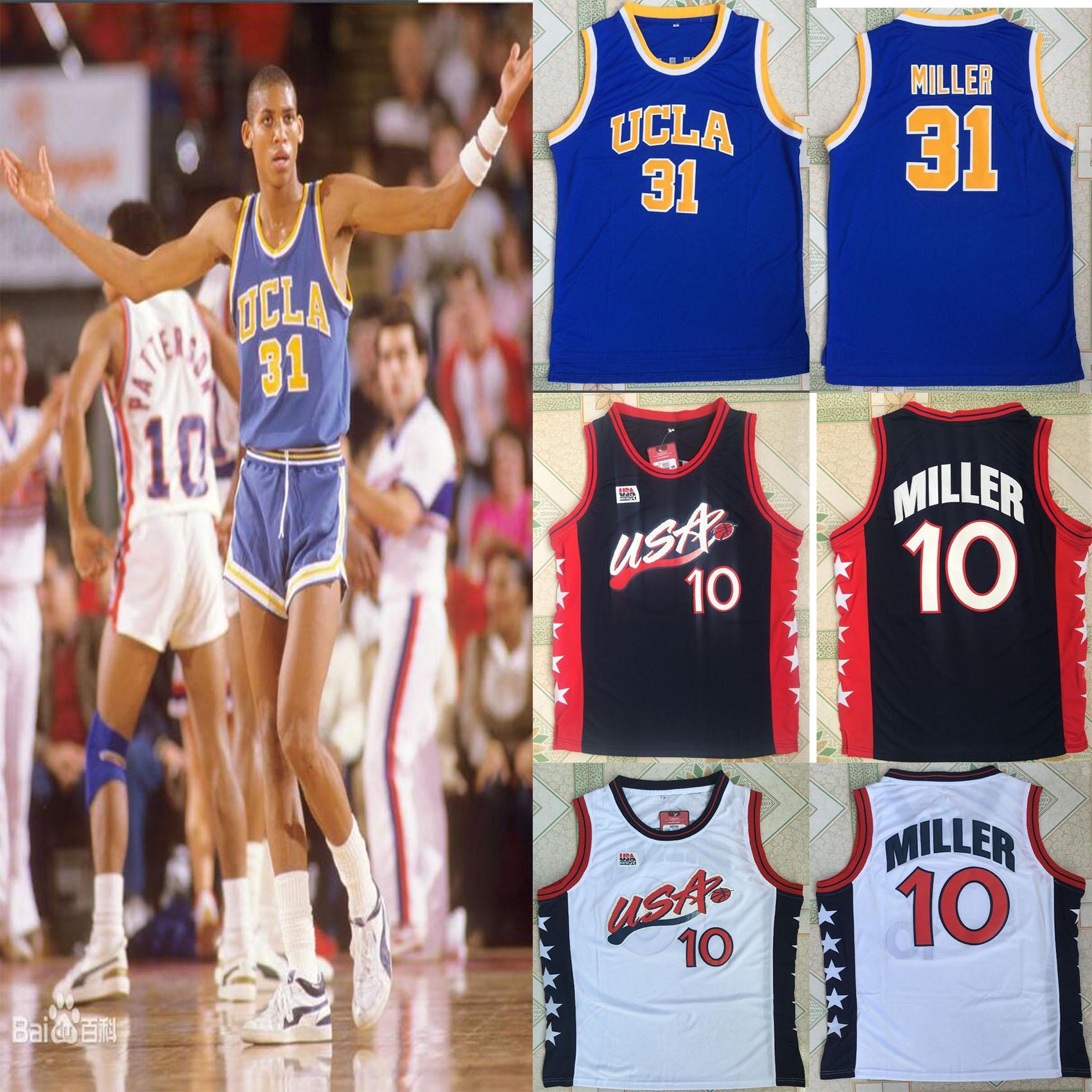 Top 1996 Baloncesto Dream Team Reggie Miller # 10 # 31 UCLA College de cosido blancas camisas jerseys envío de la gota del tamaño S-XXL