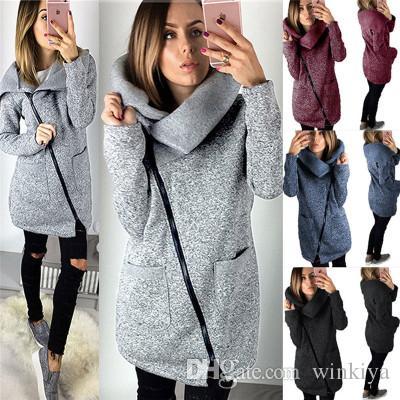 2017 heiße Frauen Herbst-Winter-warme lange Strickjacke Jacken Damenmode-Seiten-Reißverschluss Strickoberbekleidung-Mantel plus Größe 5XL