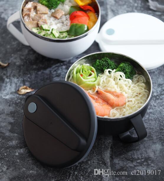 Nudelschüssel aus Edelstahl 304 mit Deckel, tragbare Lunchbox, groß