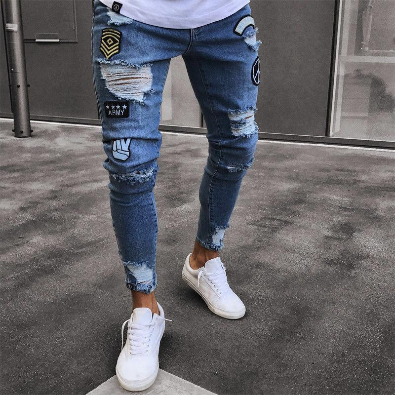 Stylish Mens elastico Strappato Skinny Biker Distrutto slim fit jeans nastrate denim pantaloni elastico in vita Harem Pantaloni Uomo Jogger S-4XL