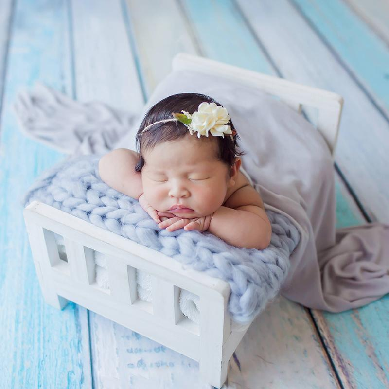 Wood Bed Newborn Baby Photography Studio Crib Props For Photo Shoot Posing Sofa Q190521