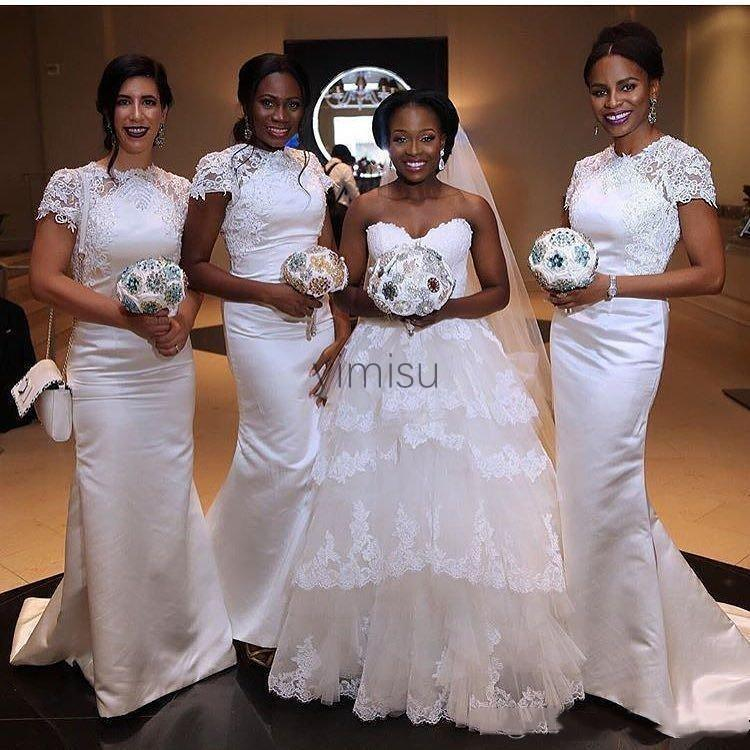 White Mermaid Bridesmaid Dresses Jewel Short Sleeve Sweep Train Appliques Garden Country African Wedding Guest Gowns Maid of Honor Dress