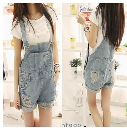 New fashion women's casual loose palazzo spaghetti strap denim jeans ripped holes suspender shorts jumpsuit rompers SMLXL