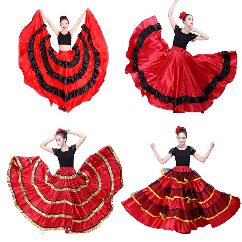 Gypsy mulher espanhola flamenco saia poliéster cetim liso balanço grande festa de carnaval salão de baile trajes de dança do ventre dress