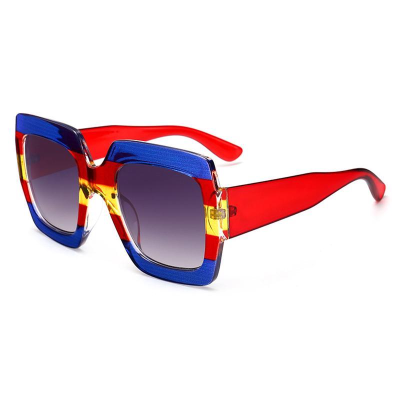 Atacado-Luxury Oversized Praça Sunglasses Mulheres Marca Vintage Designer Cristal Quadro óculos de sol por Female Red Blue Shades A252