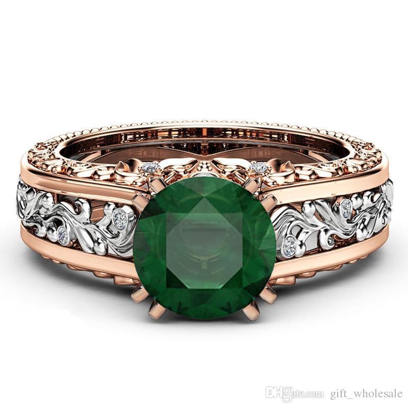 Gift Zircon Gemstone 14k Gold Plated Engagement Wedding Emerald Ring