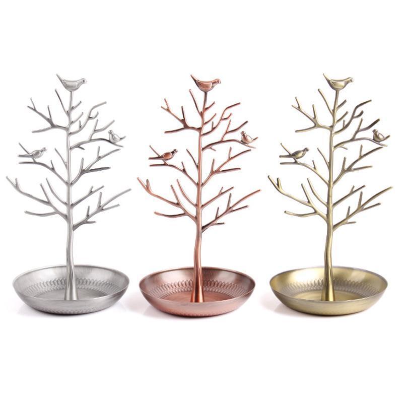 Venda quente da árvore do pássaro Jóia carrinho de exposição da cremalheira Fique pássaro Árvore Ferro Colar Brinco Titular caixa de pulseira Moda Organizer