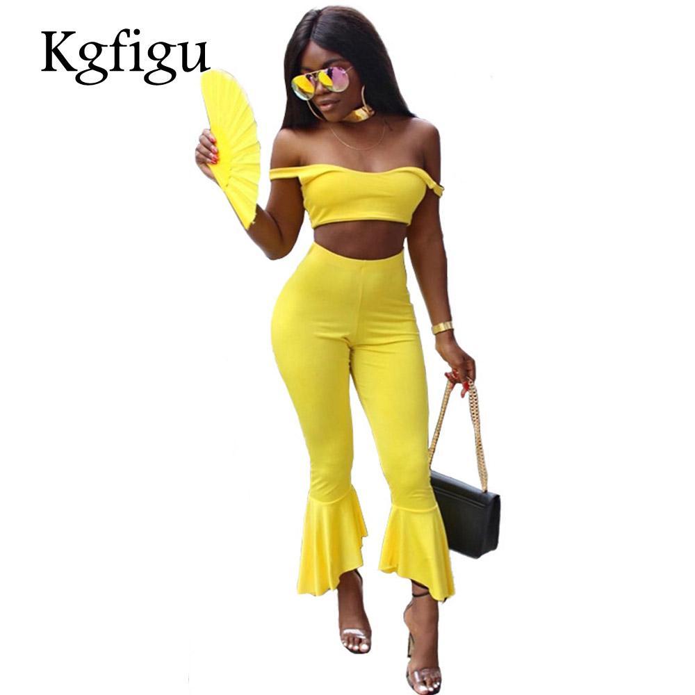 KGFIGU 2018 Été Nouveau Style Haute Qualité Mode Deux Pièces Ensemble Femmes Sexy Maigre Sans Bretelles Débardeurs Élastique Taille Pantalon évasé