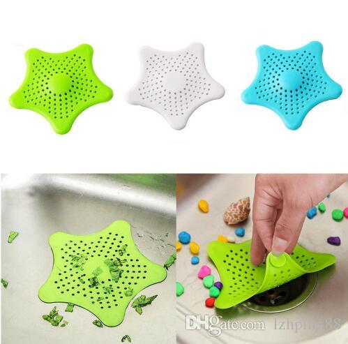 1Pc Star Sewer Outfall Strainer Bathroom Sink Filter Anti-blocking Floor Drain Hair Stopper Catcher Kitchen Bathroom Accessory