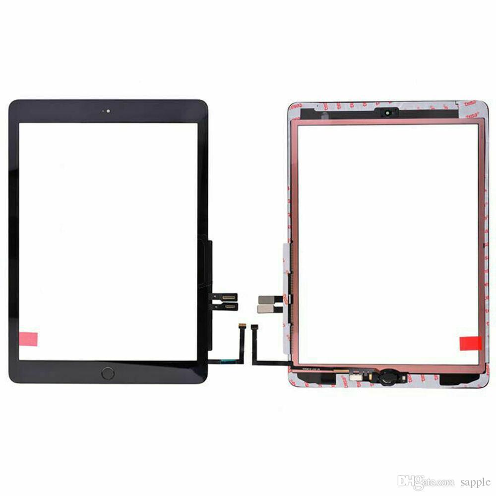 20pcs de la pantalla táctil + Adhesivo + Home Button Flex Cable para iPad 6 6ta GEN A1893 A1954 2018 Reemplazo de DHL
