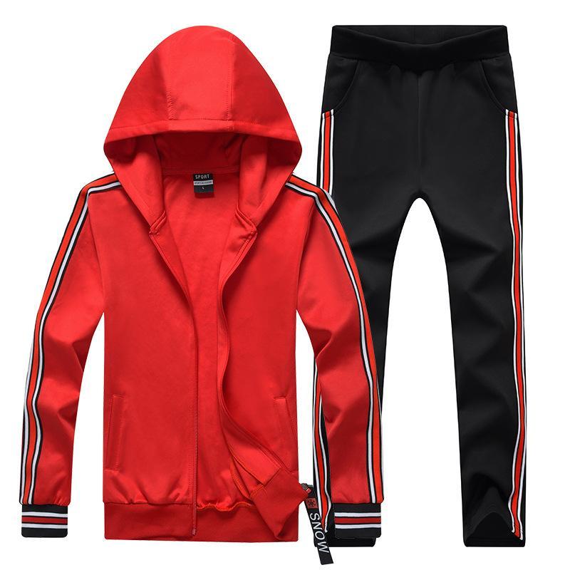 Erkekler Kadınlar Çiftler Eşofman Kapüşonlular Seti İlkbahar Sonbahar İki adet Erkek Pantolon Erkek Spor Suits ile Eşofman Ceket Hoodie Sweat