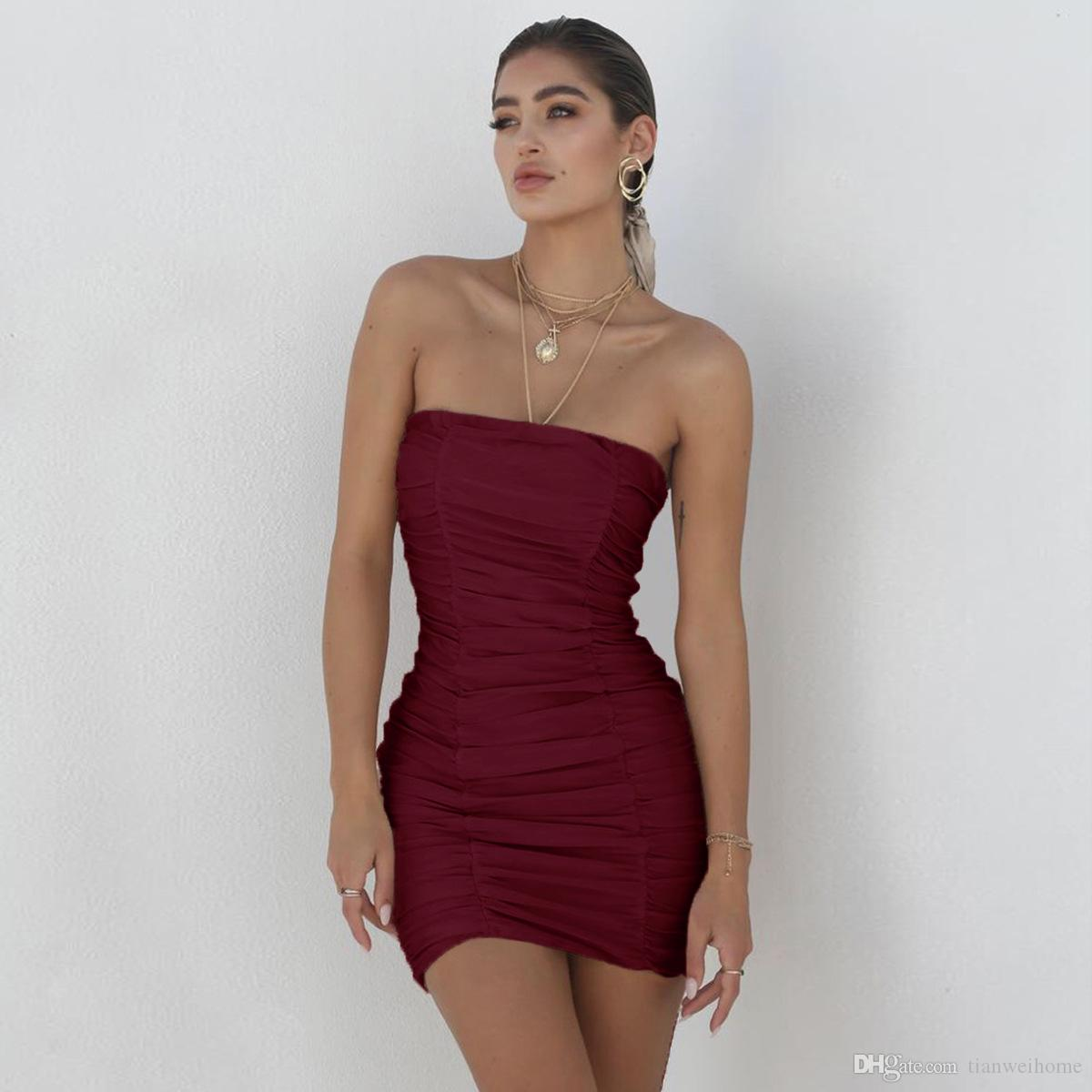 Delle Donne Sexy Senza Spalline Discoteca Drape Dress moda elastico Poliestere Estate Vestito Aderente 4 Colori Spedizione Gratuita