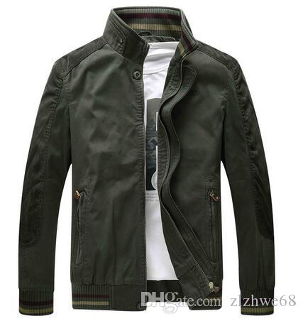 New Men's Jacket Casual Jackets Stand Collar Army Green Style Tough Guy Men Outerwear Coat Wear