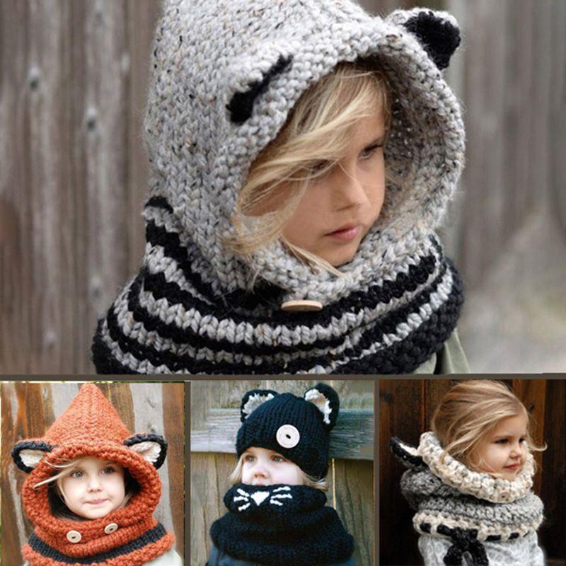 Kids Winter Hat Baby Girls Boys Scarf Earflap Hooded Cat Scarves Caps Beanie Hats Warm Neckerchief