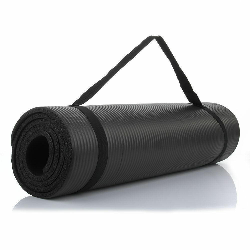 Kalın Dayanıklı (15 mm) 72 x 24 NBR yoga mat kaymaz siyah mat