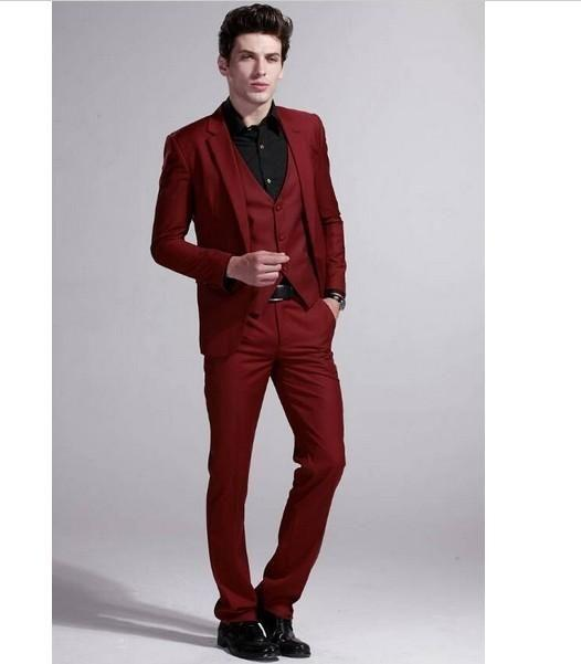 Lastest Brasão Designs Burgundy Homens ternos de casamento Slim Fit Skinny 3 Pieces Blazer personalizado terno do noivo Prom Smoking Terno Masculino
