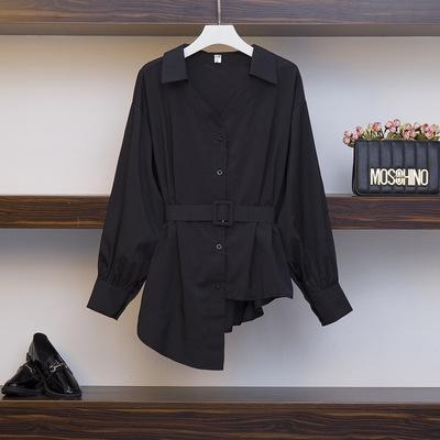 2019 no início do outono grande vestido Top estilo ocidental camisa fino solto camisa forma gordo vestido irmã top tamanho das mulheres