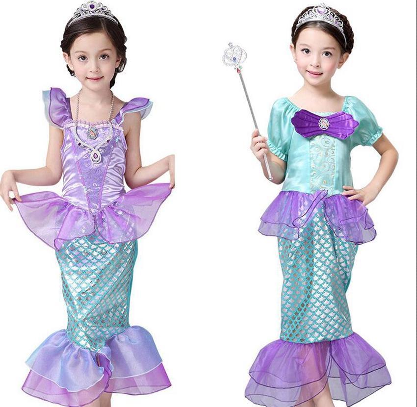 Filles petites sirène robe princesse cosplay costumes de costumes pour enfants fille bébé fille sirène habiller enfants Halloween vêtements robe de sirène ljjk2027