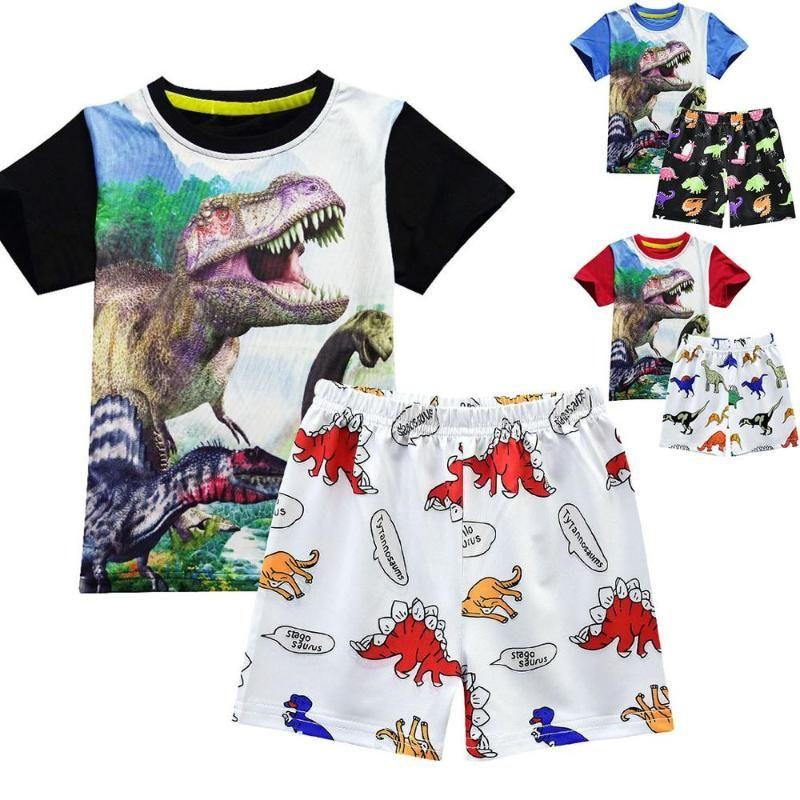 Niños ropa determinada niño de la ropa del muchacho 2pcs de los niños recién nacidos del verano de los bebés camisetas Pantalones dinosaurio T-camisa cortocircuitos Conjuntos de ropa