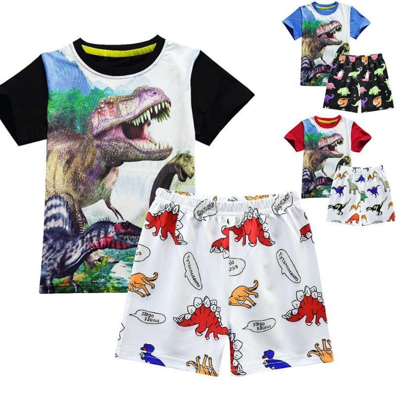 Meninos Vestuário Set menino da criança Roupa 2pcs New Born Crianças Meninos Verão Tops T-shirt calças dinossauro Shorts Roupas Roupas