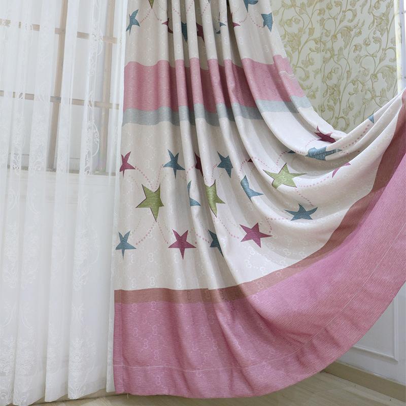 Cortinas para la sala de estar del dormitorio del apagón de estrellas de dibujos animados cortinas Patrones Blanco grueso Sheer para chicas en la decoración del hogar