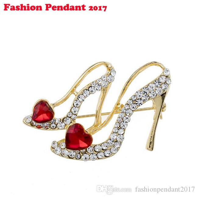 High Heels Shoes Brooch Crystal Red Brooches Corsage Clips For Suit Scarf Dress Women Girls Jewelry Pins