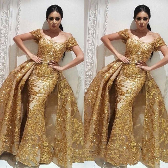 Lujo lentejuelas de oro sirena vestidos de noche apliques desmontable tren árabe Dubai fuera del hombro Arabia fiesta de baile vestido vestido de fiesta