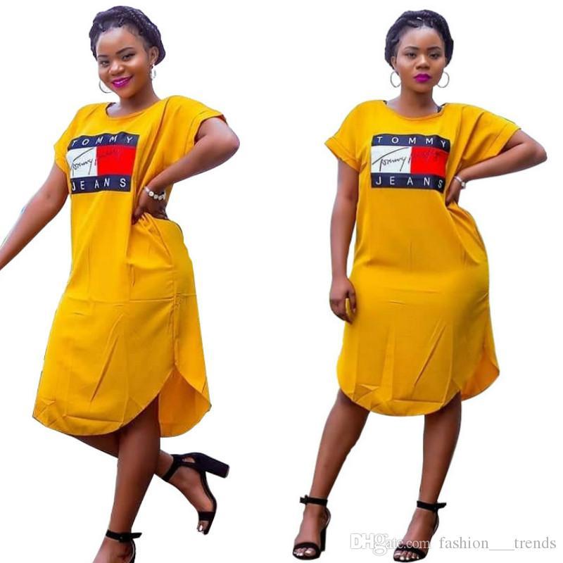 أزياء المرأة الصيف فضفاضة المتضخم اللباس رسالة طباعة المحملة القميص فساتين عادية زائد حجم القطن كم قصير اللباس فام Vestidos اللباس