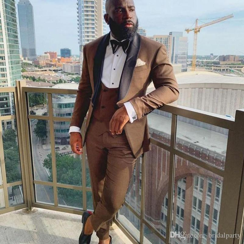 3 Stück Brown Mens Hochzeitsanzüge Schal Revers Bräutigam Anzüge für Männer Bräutigam Smoking Slim Fit Hochzeit Kostüm