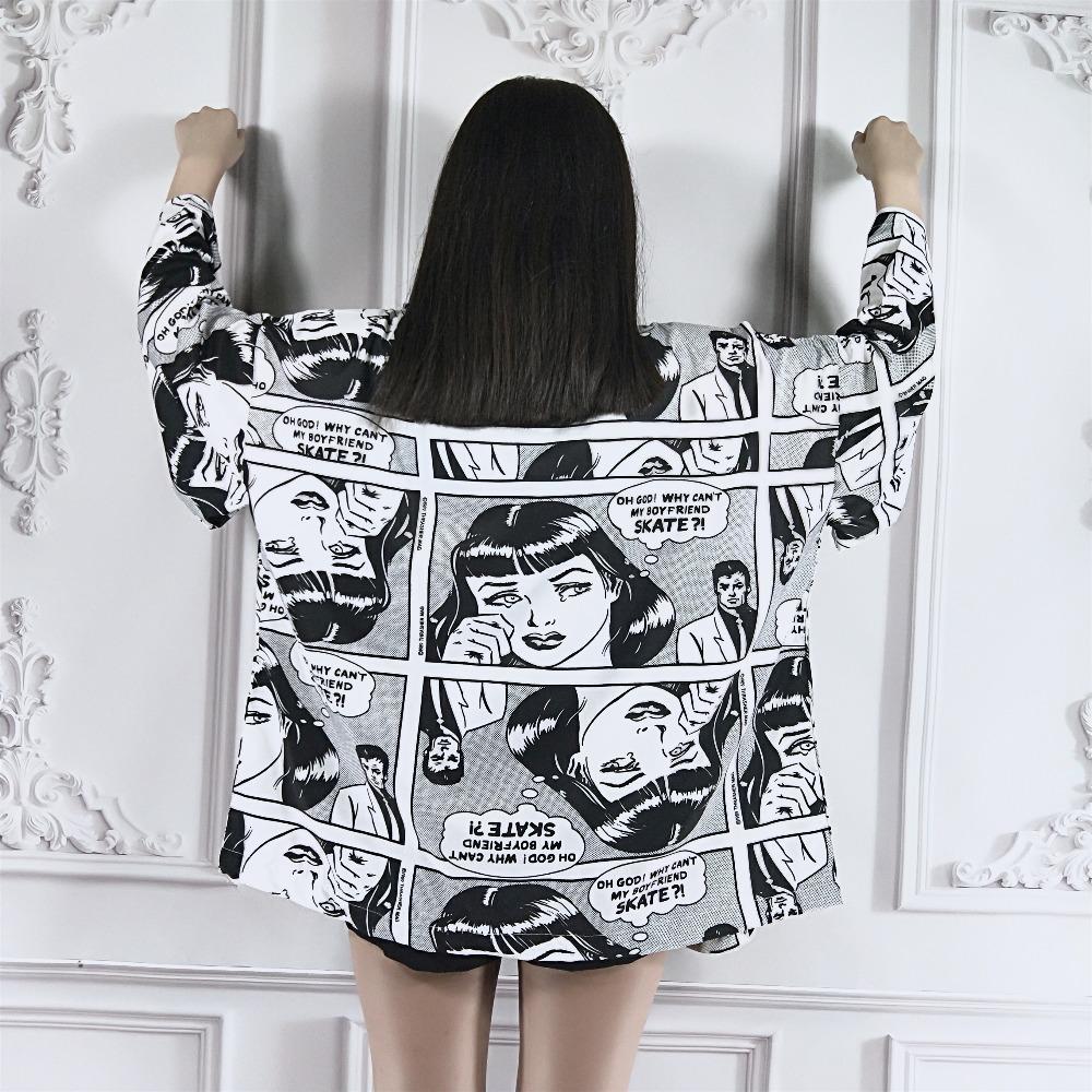 NiceMix 2019 nuova stampa di cartone stile giapponese streetwear harajuku donne robe hiphop personalità cardigan kimono cappotto vestiti
