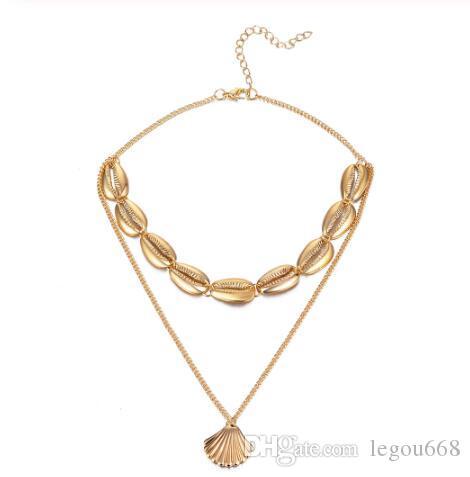 Bohemia multicapa Océano Sol Beach collar de los colgantes de las mujeres del color del oro de la playa Shell collar de cadena de joyería GB1094