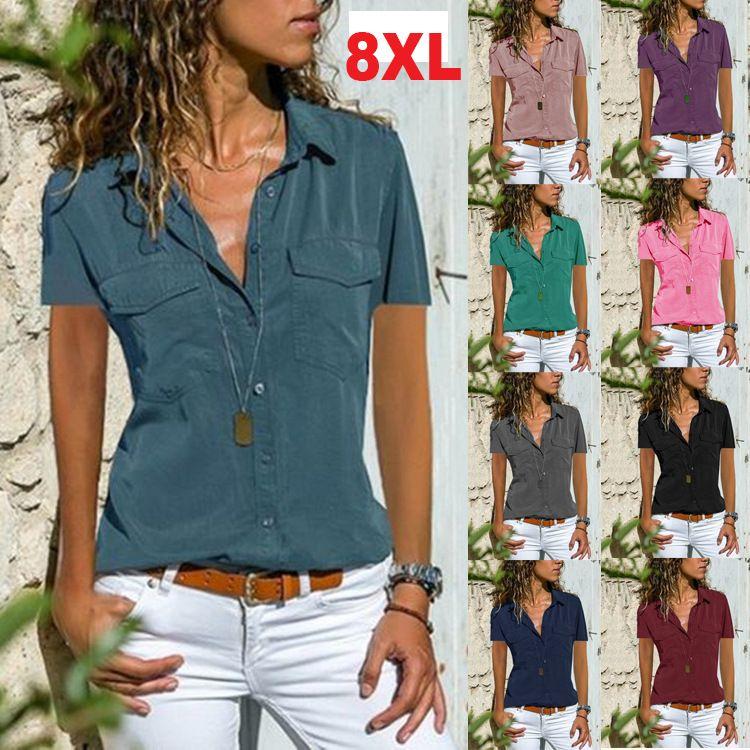 Летний Новый дамы рубашки нагрудные с коротким рукавом рубашки женщин 9 Цвет S-8XL