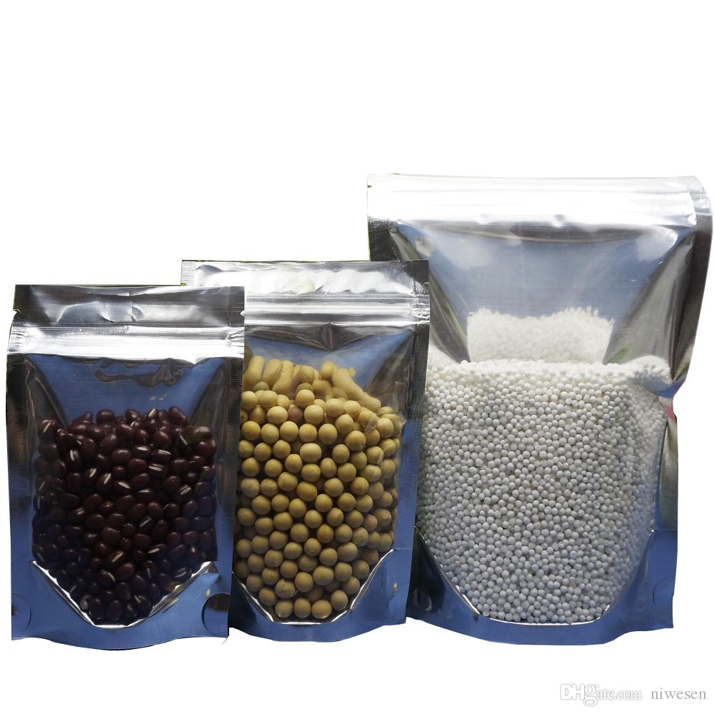 16x24cm, 100pcs x avant clair stand up ziplock en aluminium translucide sac-pistache noix emballage fermeture éclair sac poignée grip, poche à fruits debout