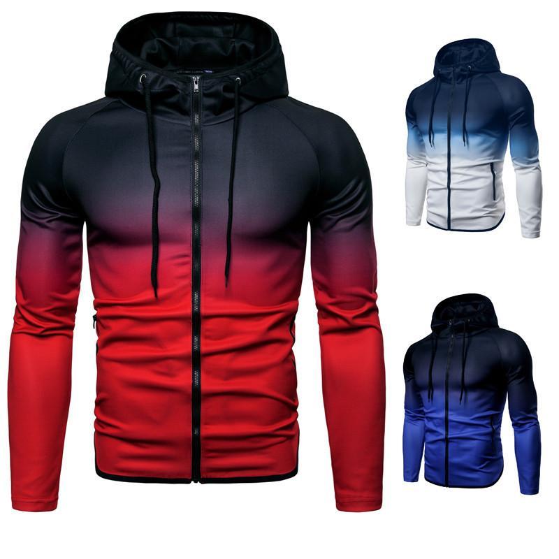 Мужчины хип-хоп мода толстовка толстовка уличная толстовка полосатый пот пуловер молния толстовка кофты размер M-3XL