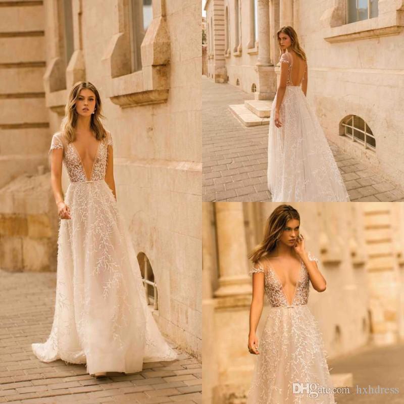 2020 Berta Wedding Dresses Deep V Neck Lace Appliqued A Line Sexy Backless Cap Sleeve Beach Wedding Gowns Sweep Train Boho Bridal Dress 4311