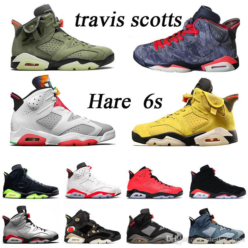 Мужская баскетбольная обувь 6 6С Трэвис Скотт кактус Джек ви всячески препятствовать новые кроссовки мыть джинсовые Заяц Слэм данк тренеров ДМП размер США 13