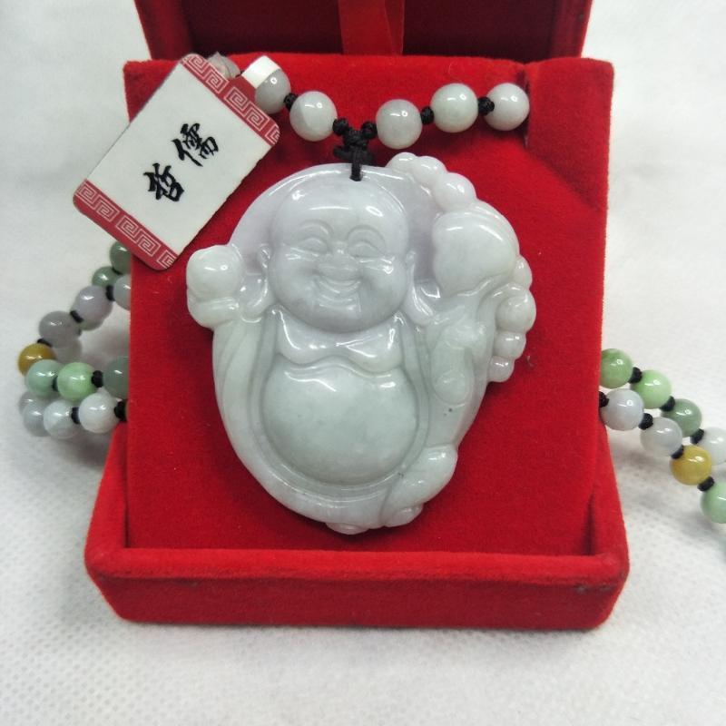Enviar Certificado Natural birmanês Jadeite Carving Ruyi Laughing Buddha pingente Três cores Jade Bead colar dom caixa