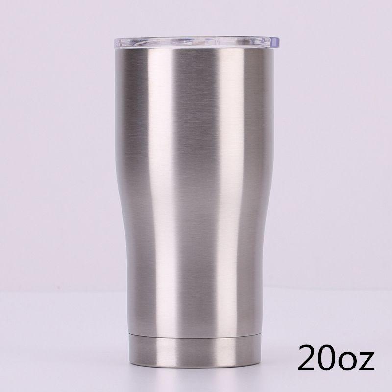 600 ml gebogener Becher mit doppelter Wand Schiebedeckel aus rostfreiem Kaffeebecher, gut versiegelt, 20 Unzen Becher aus rostfreiem Stahl 304 für Versand durch DHL für Erwachsene