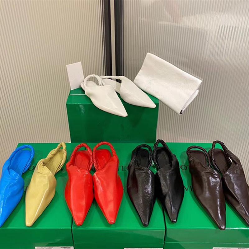 أحذية عالية الكعب بوتيغا المرأة المدرج أشار تو أحذية منخفضة الكعب العالي المرأة 2020 الجديدة جلد حقيقي الصنادل سيدة العلامة التجارية تصميم شبكة شقة أحذية 9CM