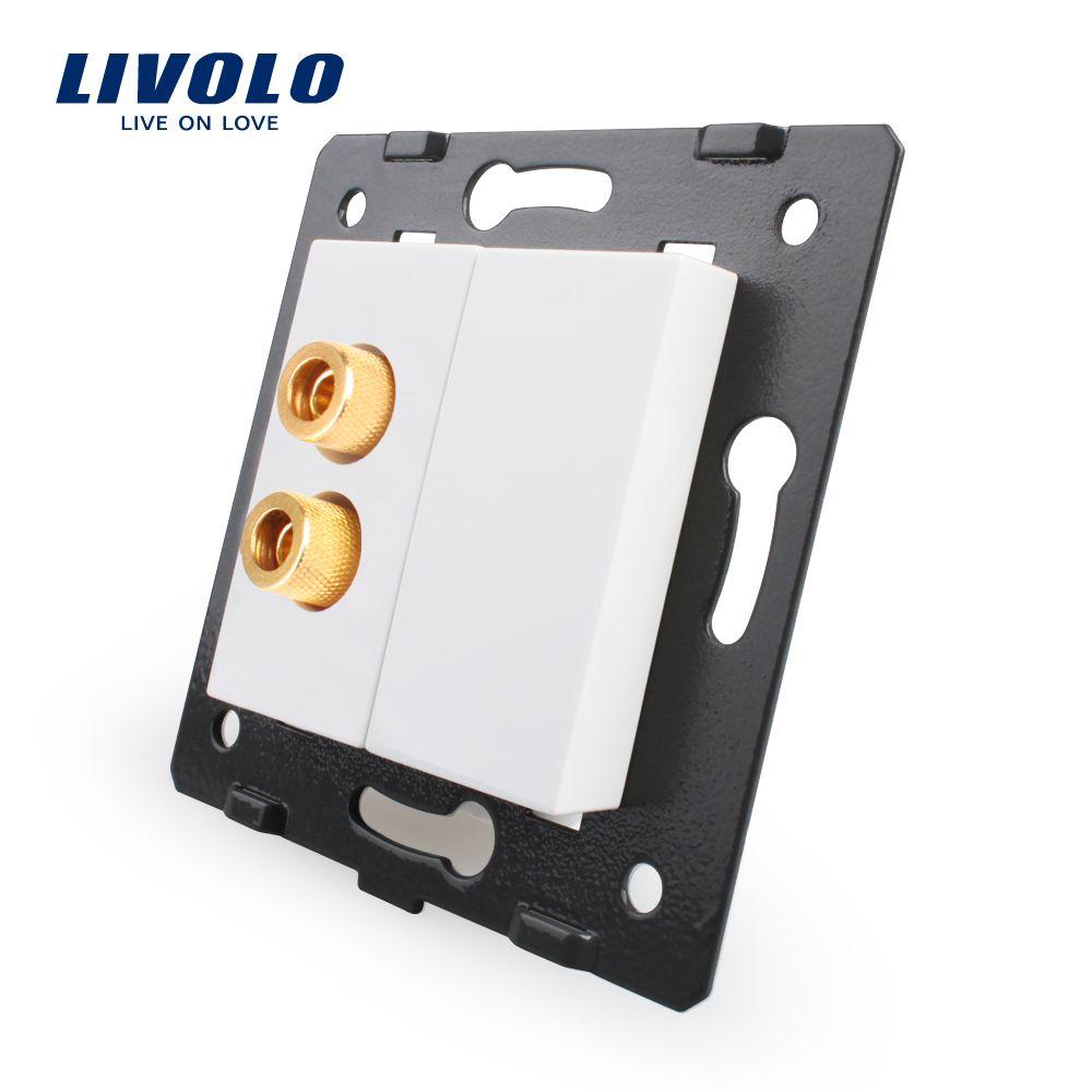 Livolo White Plastic Materials, EU Standard Socket Element, Function Key For Sound Socket ,Withou Glass Panel