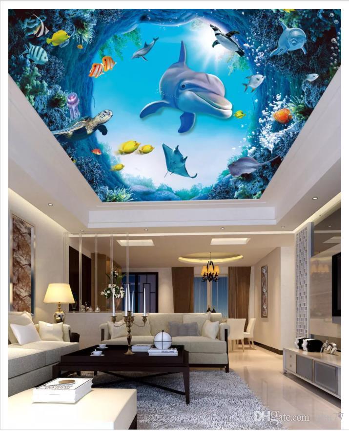 Personalizado Grande papel de parede foto do teto 3d Underwater mundo golfinho peixe sala de estar quarto zenith teto mural papel de parede para paredes 3d