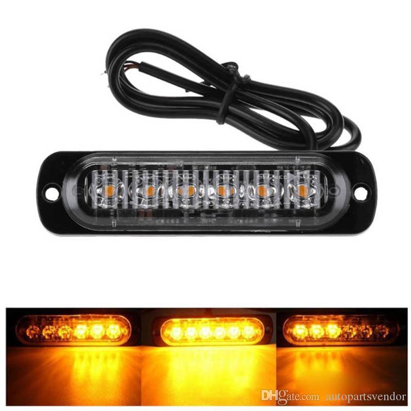 Camión Vehículo 4pcs 18W 12-24V 6 LED de luz de flash delgada barra de Moto del coche de emergencia Advertencia Strobe Lámparas Accesorios para automóviles con 6 LED / pc