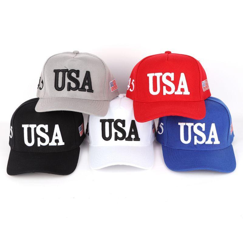 Béisbol al aire libre unisex Cap Trump 2020 Béisbol Campaña Cap EE.UU. bordada 45 de la bandera americana 3D Snapback ajustable del sombrero