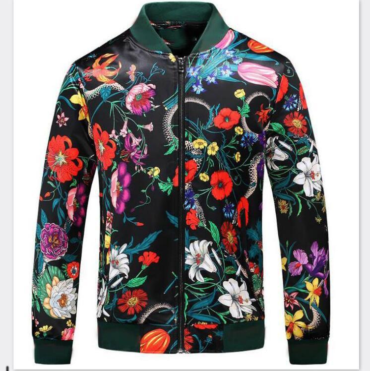 Marca di modo di giacche per Mens giacca designer cappotti con fiori della stampa del modello G Designer Streetwear di lusso chiusura lampo del rivestimento Uomo T-Shirts Abbigliamento