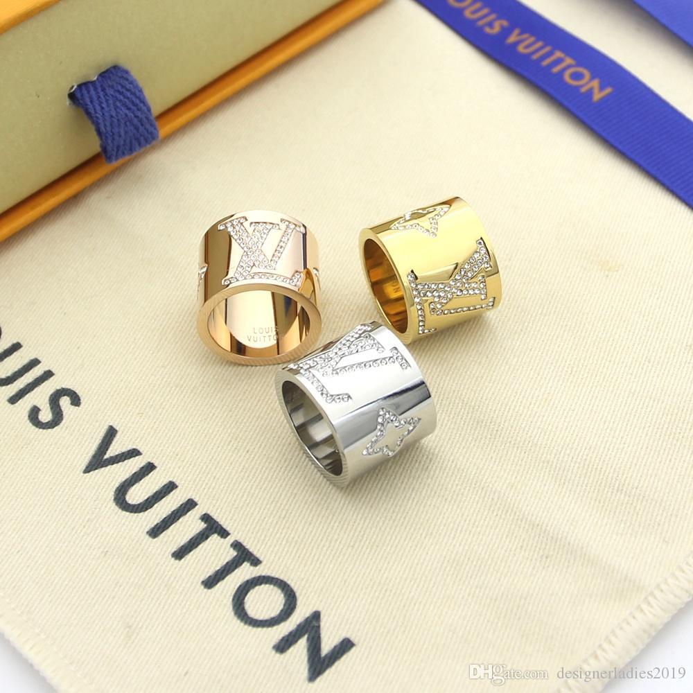 مصممي العلامة التجارية V من التيتانيوم على شكل خاتم الماس مع 18K ارتفع الذهب والمجوهرات 3 رجال والنساء اللون شظية الزفاف هدية خاتم Jewwelry